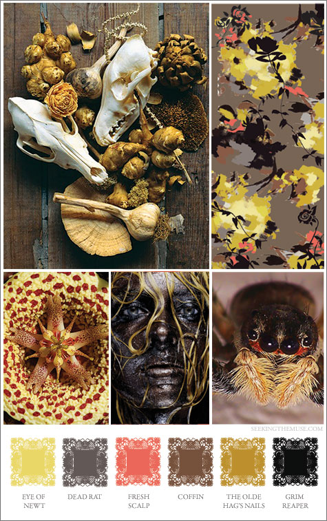 Mood board based on unusual colors and images for Halloween.