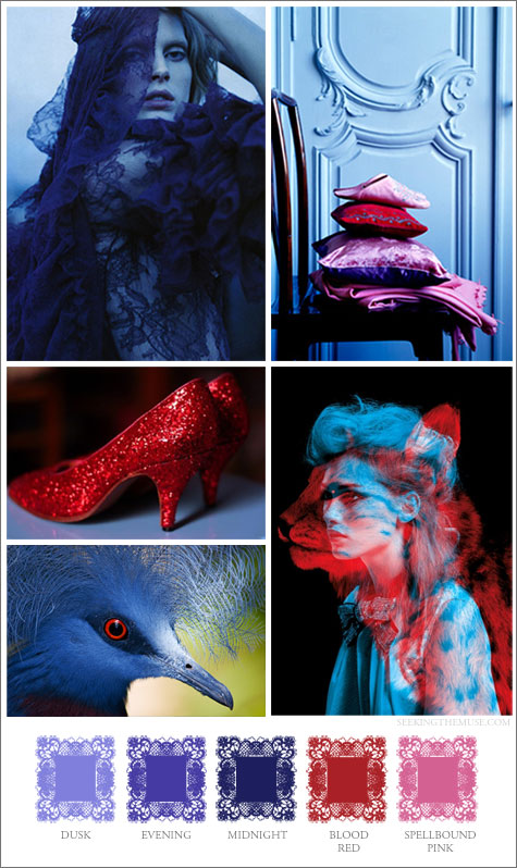 Mood board based on red, midnight blue, and pink.