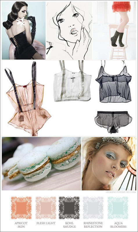 Mood board based on The Lake and Stars lingerie, sheer color.