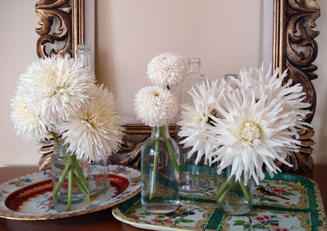 Dahlias in bunches, spikey and poms