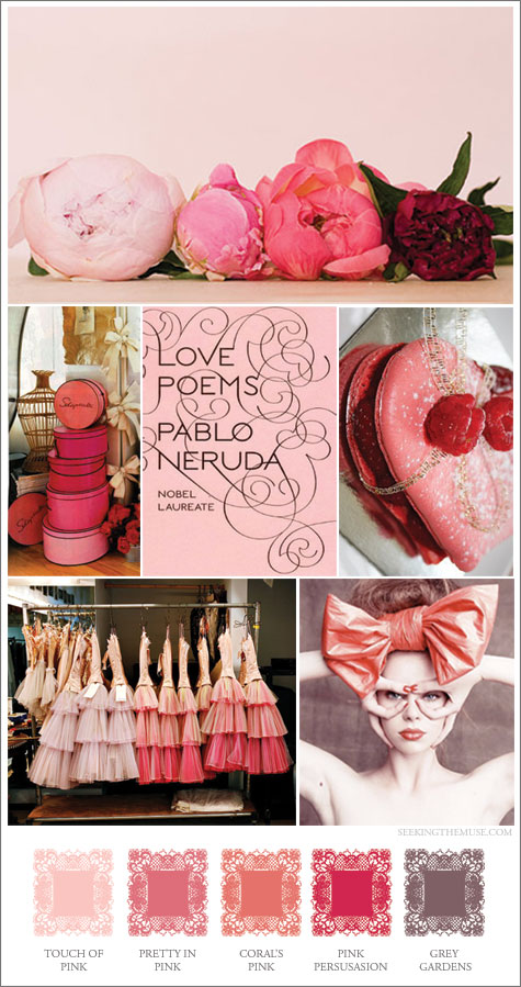 Mood board based on various shades of pink.