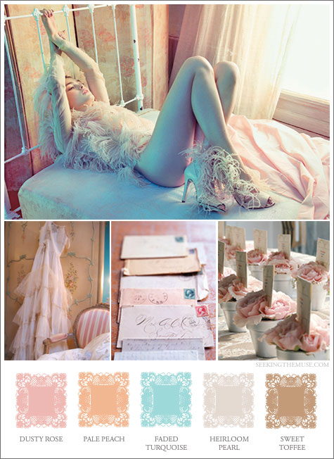 Mood board based on soft, feminine colors. Dusty rose, pale peach, faded turquoise, heirloom pearl.