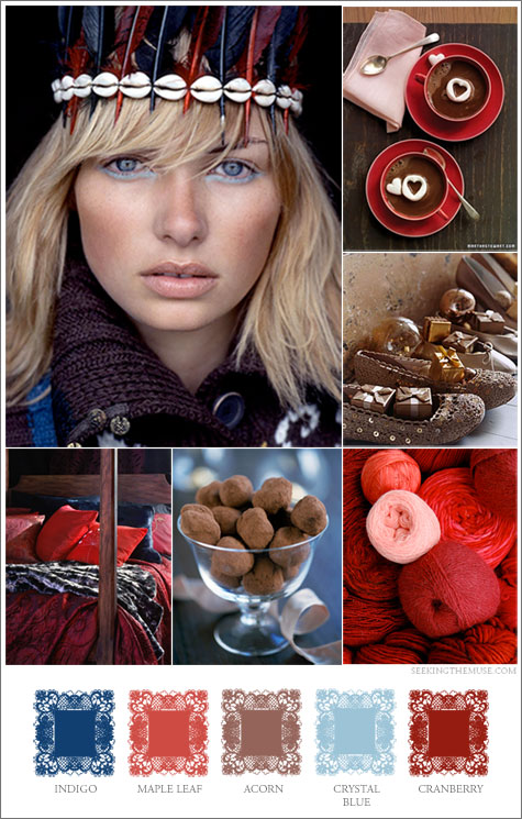 Mood board based on Thanksgiving theme, cranberry and indigo, feather