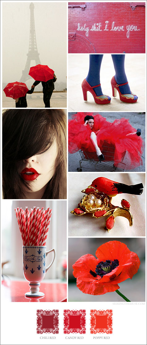 Mood board based on shades of red: chili, poppy, candy
