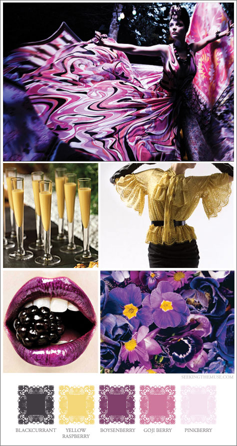 Mood board based on berry, yellow and black