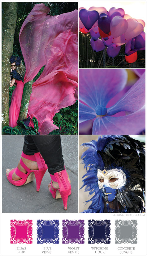 Mood board based on shocking pink, midnight blue