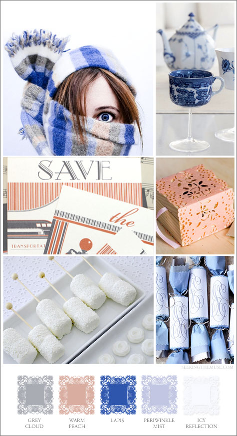 Mood board based on January wintry whites and cool blues.