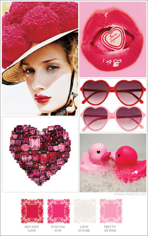 Mood board based on Valentine colors red and pink.
