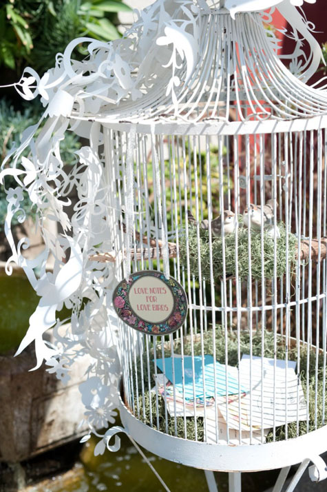 Vy and Michael vintage Smog Shoppe wedding birdcage card holder