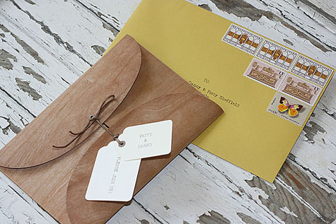 Vy and Michael vintage Smog Shoppe wedding wood veneer envelope