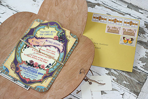 Vy and Michael vintage Smog Shoppe wedding invitation