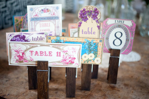 Vy and Michael vintage Smog Shoppe wedding table numbers unique colorful