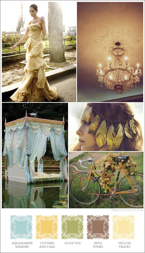 Mood board based on dreamy colors, golden tones, romantic