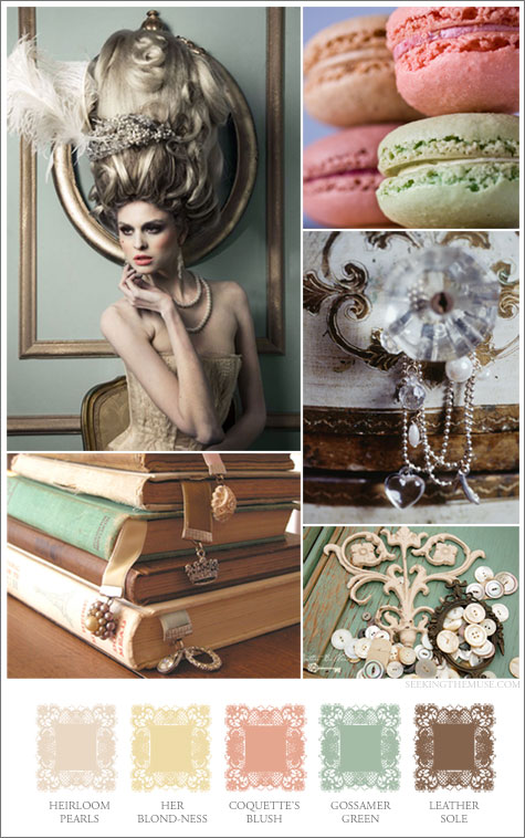 Mood board based on colors for a countess, peach, butter, pearl
