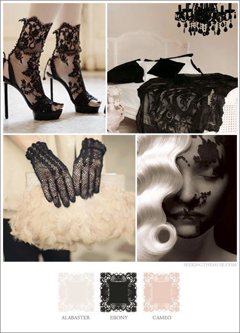 Mood board based on lace, nude and black, delicate, feminine
