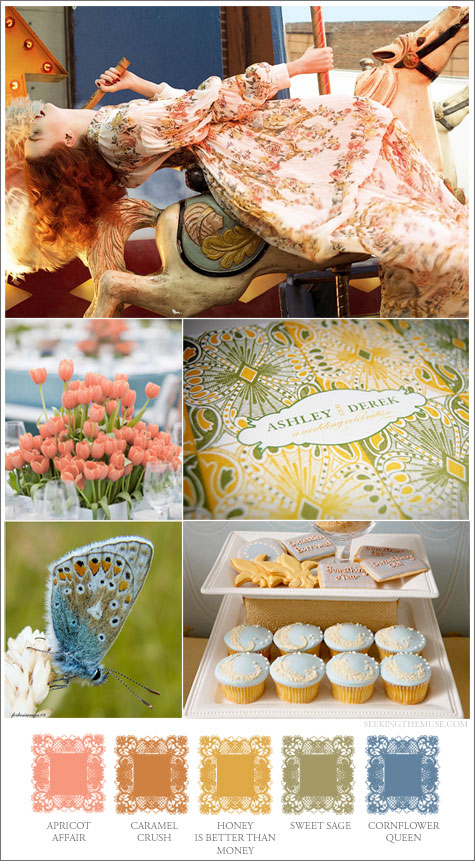 Mood board based on Steven Meisel with Karen Elson, honey, caramel, apricot, sage