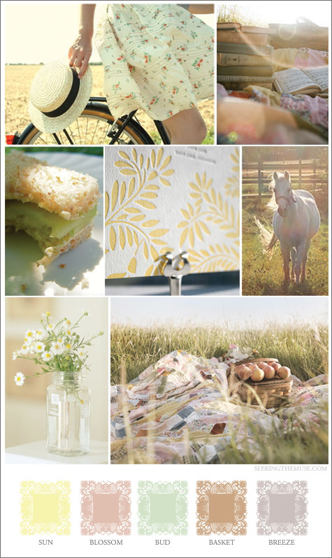 Mood board based on summery colors, meadow, sun, breeze