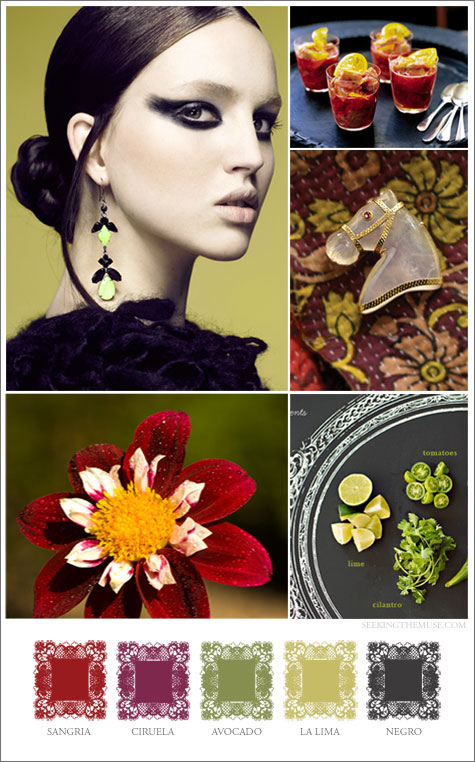 Mood board based on Mexican spices, avocado, lime, sangria, ciuela, negra