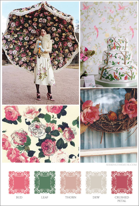 Mood board based on anatomy of a rose, thorn, leaf, bud, petal