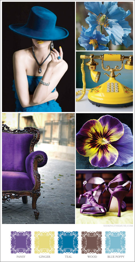 Mood board based on blue poppy, yellow, purple chair