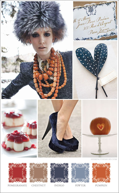 Mood board based on Thanksgiving theme, chestnut, pomegranate, indigo, pumpkin