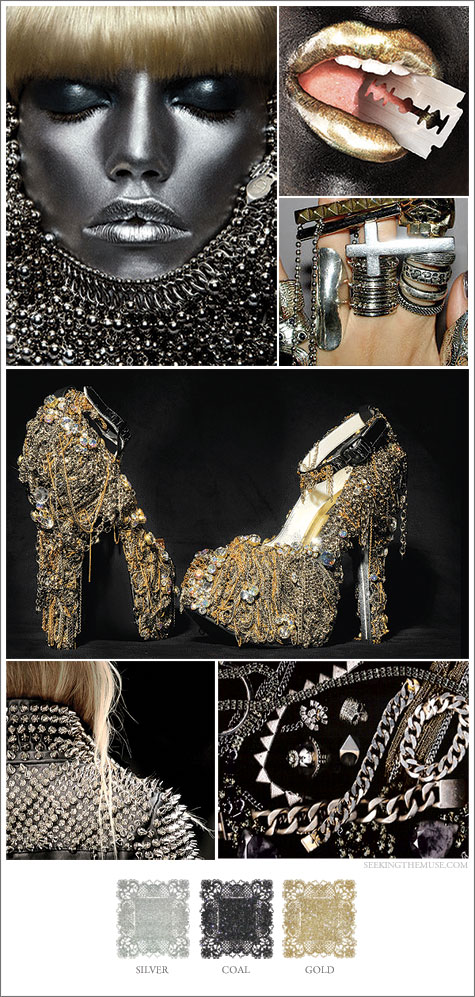 Mood boarad based on edgy metallic colors, gold, silver, gunmetal