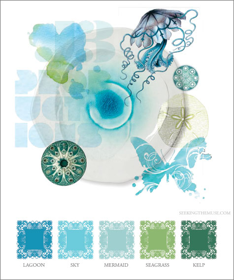 Mood board based on At Your Leisure photo spread shoot, lagoon, sky, mermaid, seagrass, kelp