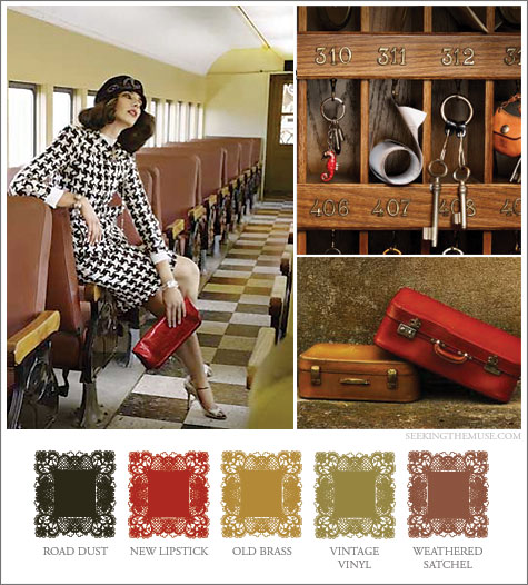 Mood board based on vintage travel theme, train, suitcases, hotel keys,