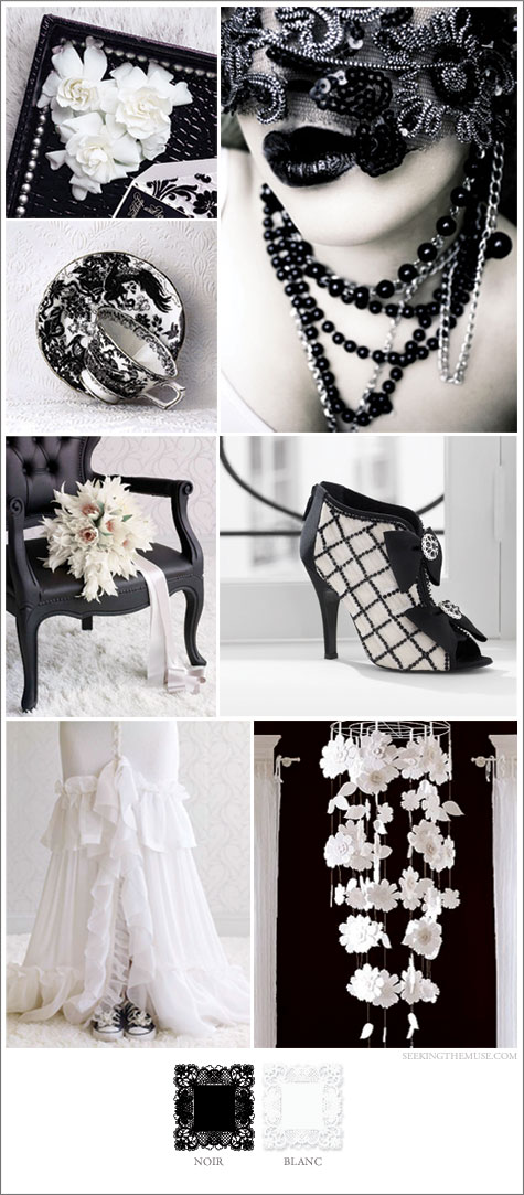 Mood board based on black and white, wedding, black tie