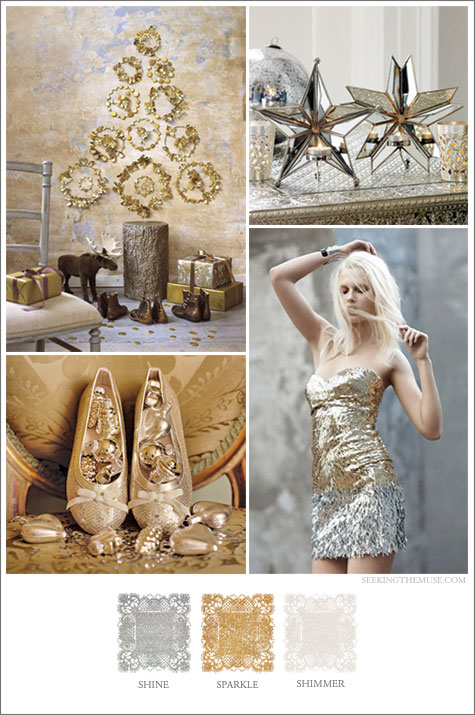 Mood board based on glitter, shimmer, sparkle, holiday