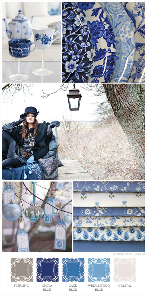 Mood board based on blues, wedgewood, saxe, china