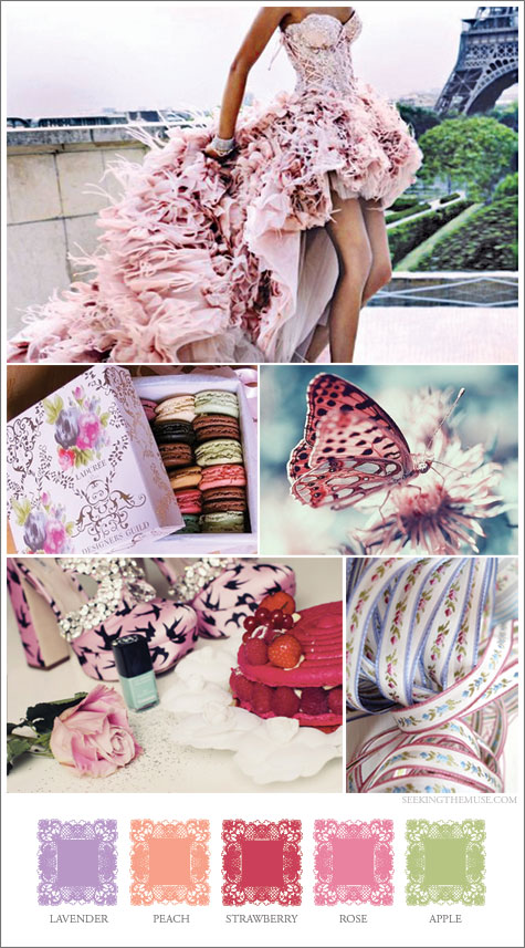 Mood board based on Valentine's Day theme, lavender, peach, strawberry, rose, apple