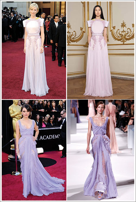 Lilac dresses from Oscars 2010 for mood board