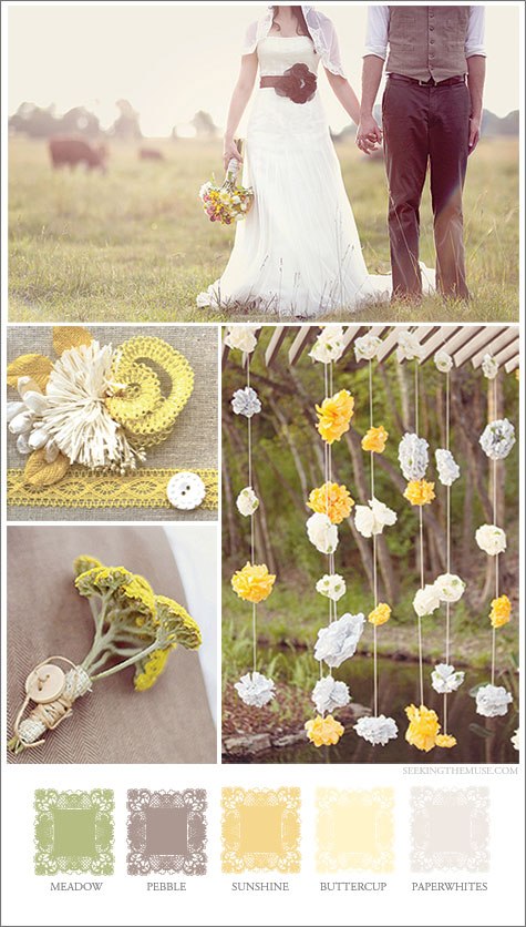 Mood board based on a meadow with greens, yellows.