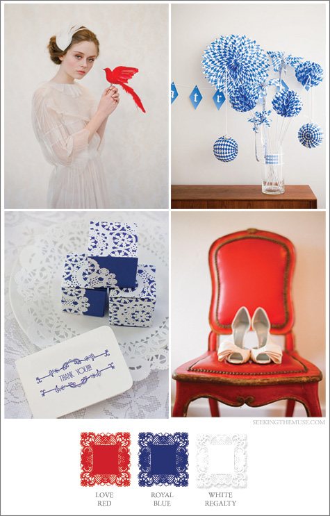 Mood board based on Union Jack colors red, white, blue