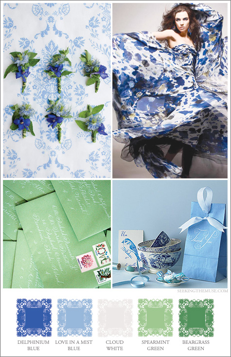Mood board based on blues and greens