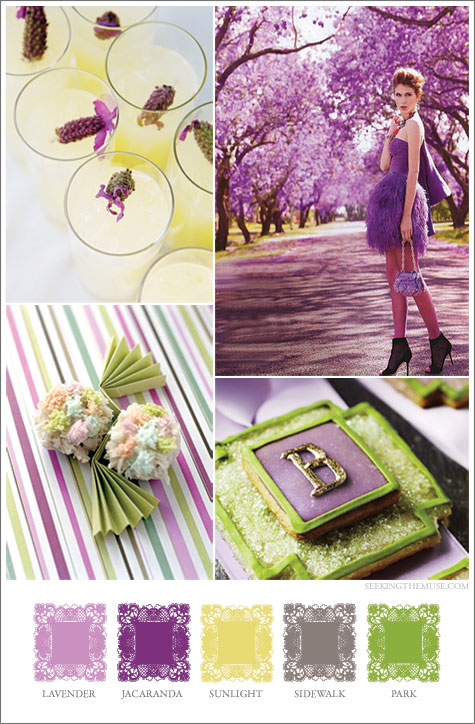 Mood board based on purples, greens, yellow