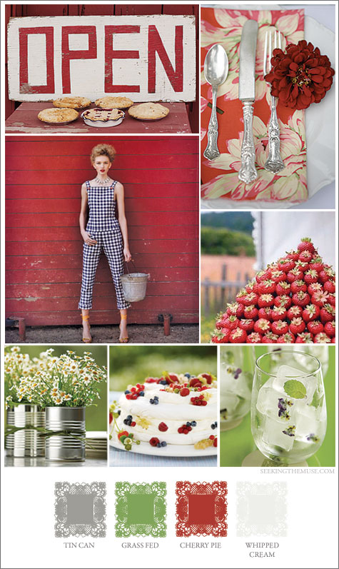 Mood board based on farm and country theme, red, white, apple green.