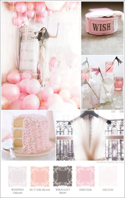 Mood board based on ethereal pink, balloons, ruffled cake, girly, feminine