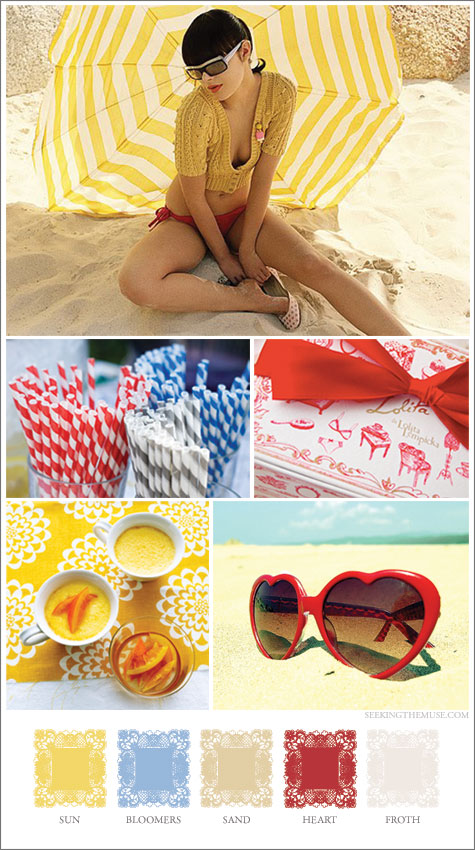 Mood board based on beach pinup red, yellow, blue.