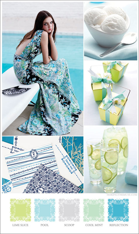 Mood board based on pool theme, aqua, lime, green, blue.