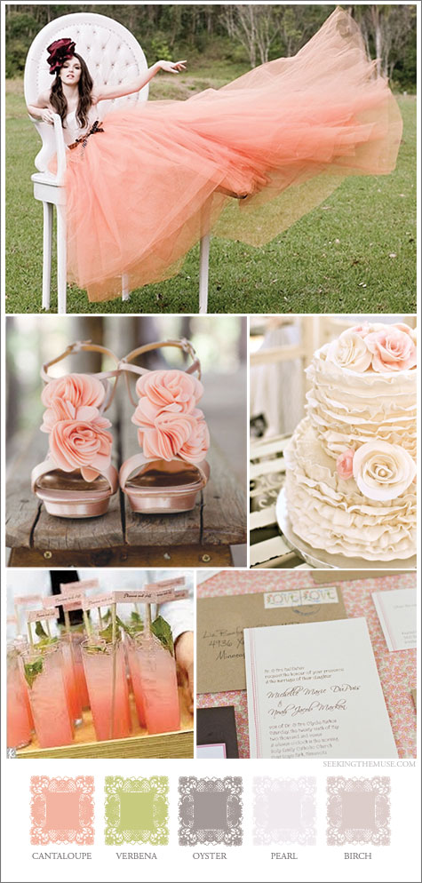 Mood board based on girly tulle with cantaloupe, apricot, verbena, lime green colors