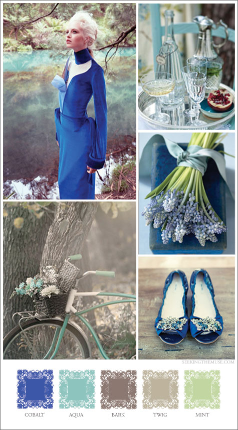 Mood board based on cobalt, aqua, mocha, and lime green, romantic, woodsy, bicycle