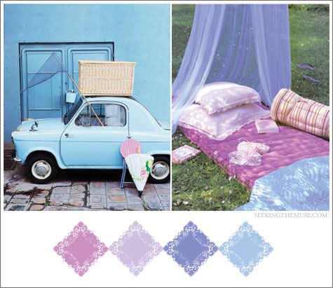 Color board based on vintage car, picnic, lavender, mauve, lilac, periwinkle