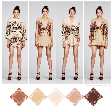 Color board based on Alice McCall Resort 2012 nudes