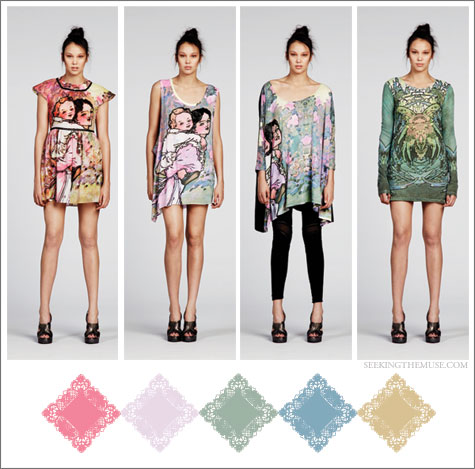 Color board based on Alice McCall Resort 2012 muted prints