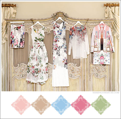 Color board based on pretty dresses, pastels