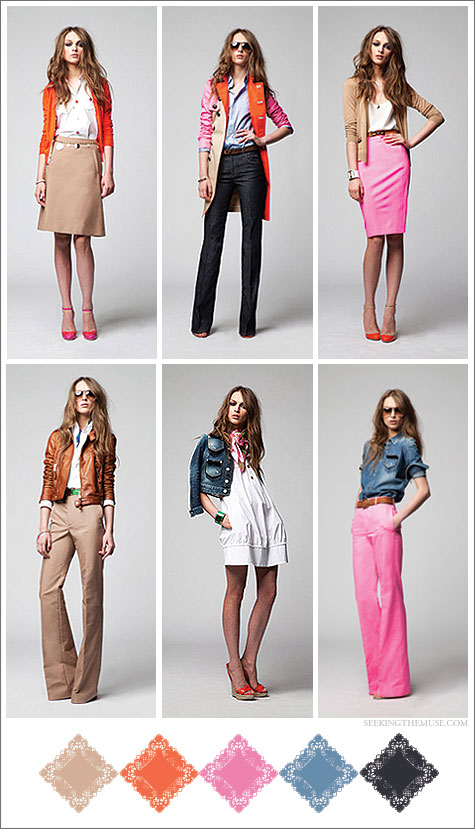 Color board based on Dsquared² Resort 2012 lookbook with camels, pinks, chambrays and tangerine hues.
