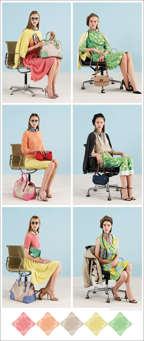 Color board inspired by Prada Resort 2012 with vintage pastel rainbow colors and prints.