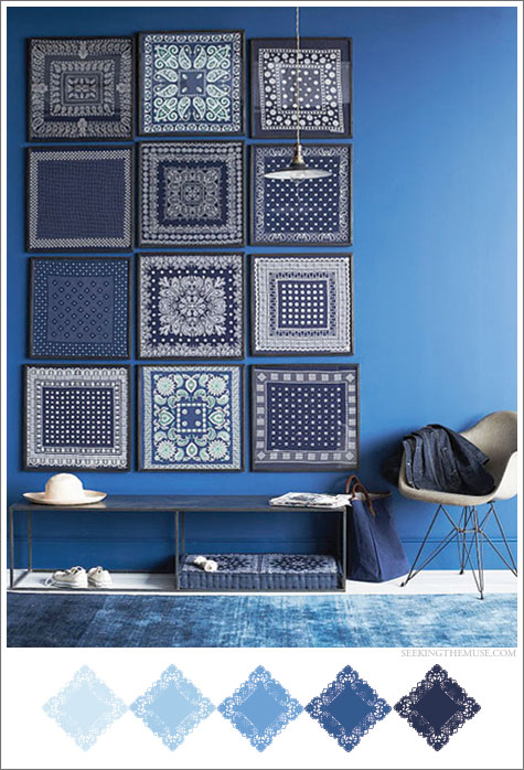 Mood board based on Martha Stewart blues from bandanas.